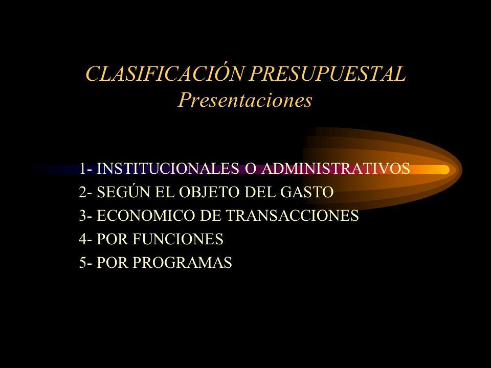 CLASIFICACION GENERAL DE LOS PRESUPUESTO Según el campo de aplicabilidad: - De operación = Económicos; como son los procesos productivos - órdenes de