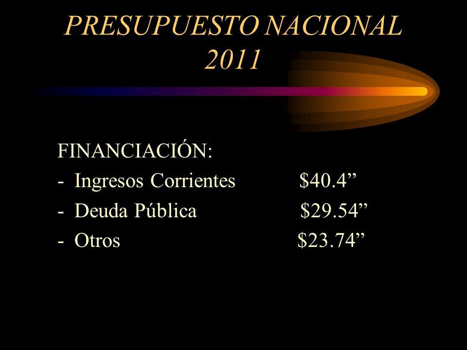 PRESUPUESTO NACIONAL 2011 INGRESOS: $ Billones GASTOS : $Billones DEFICIT FISCAL: $ Billones DEUDA PUBLICA