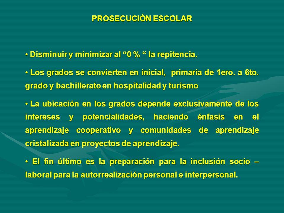 PROSECUCIÓN ESCOLAR Disminuir y minimizar al 0 % la repitencia. Disminuir y minimizar al 0 % la repitencia. Los grados se convierten en inicial, prima