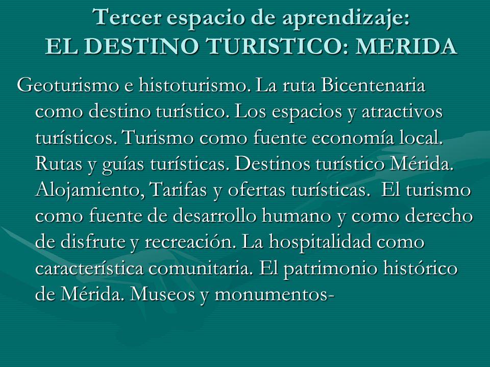 Tercer espacio de aprendizaje: EL DESTINO TURISTICO: MERIDA Geoturismo e histoturismo. La ruta Bicentenaria como destino turístico. Los espacios y atr