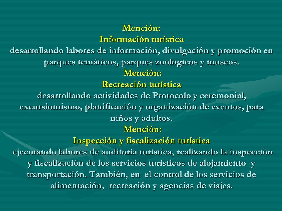 Mención: Información turística desarrollando labores de información, divulgación y promoción en parques temáticos, parques zoológicos y museos. Menció