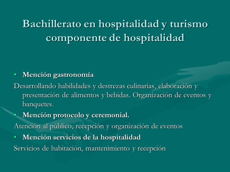 Bachillerato en hospitalidad y turismo componente de hospitalidad Mención gastronomíaMención gastronomía Desarrollando habilidades y destrezas culinar