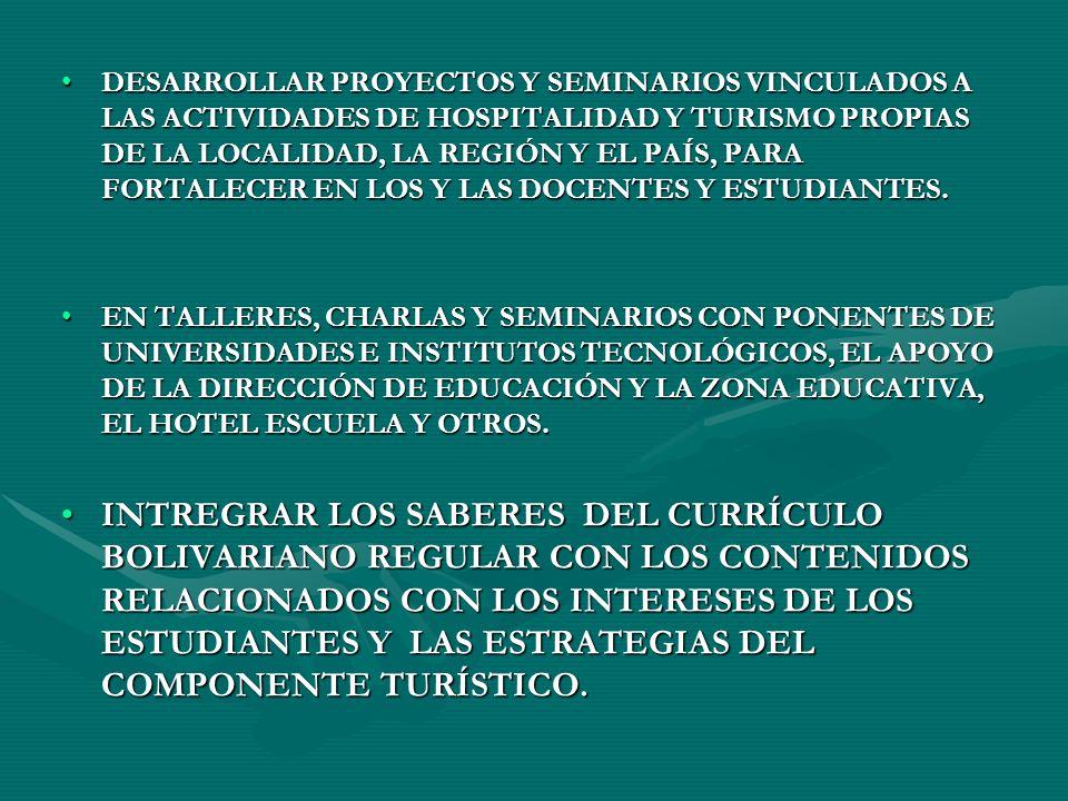 DESARROLLAR PROYECTOS Y SEMINARIOS VINCULADOS A LAS ACTIVIDADES DE HOSPITALIDAD Y TURISMO PROPIAS DE LA LOCALIDAD, LA REGIÓN Y EL PAÍS, PARA FORTALECE