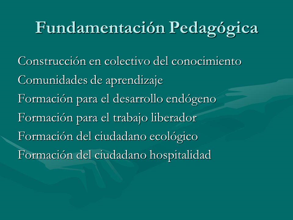 Fundamentación Pedagógica Construcción en colectivo del conocimiento Comunidades de aprendizaje Formación para el desarrollo endógeno Formación para e
