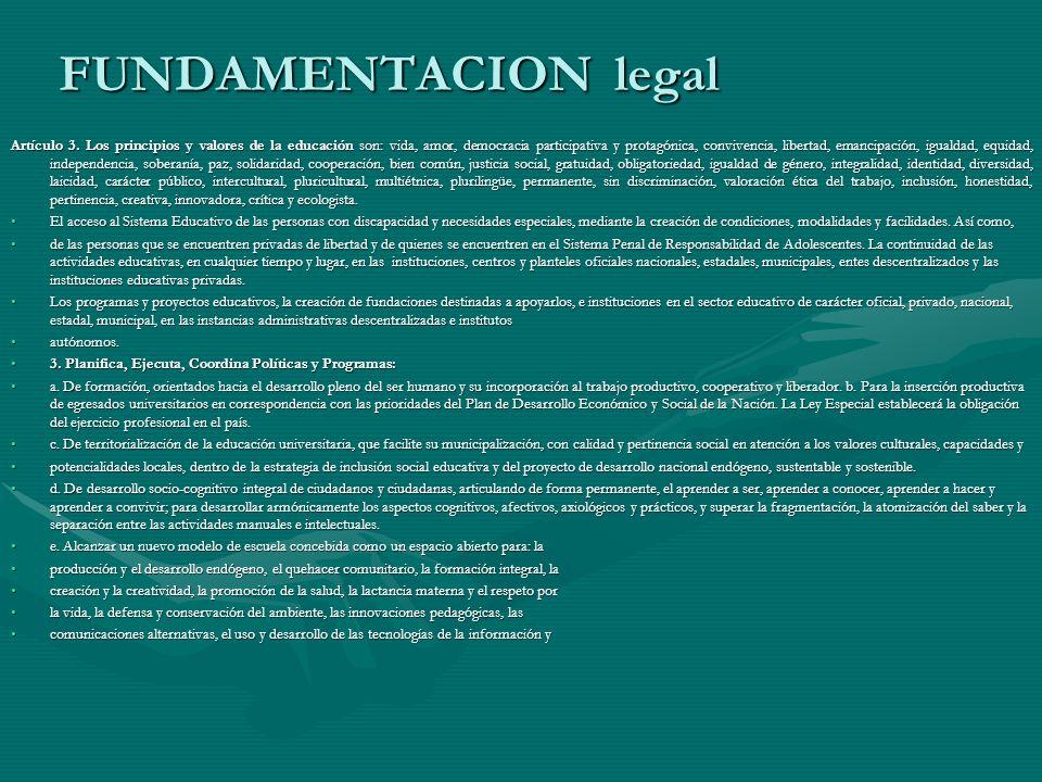 FUNDAMENTACION legal Artículo 3. Los principios y valores de la educación son: vida, amor, democracia participativa y protagónica, convivencia, libert