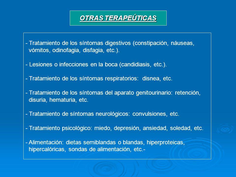 OTRAS TERAPEÚTICAS - Tratamiento de los síntomas digestivos (constipación, náuseas, vómitos, odinofagia, disfagia, etc.). - Lesiones o infecciones en