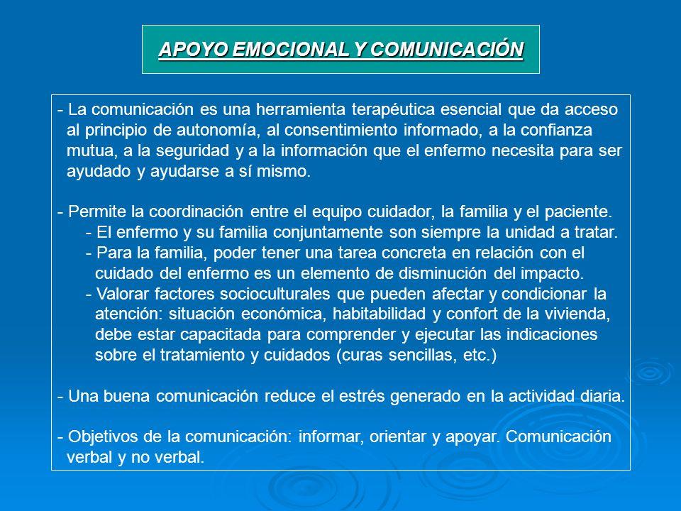 APOYO EMOCIONAL Y COMUNICACIÓN - La comunicación es una herramienta terapéutica esencial que da acceso al principio de autonomía, al consentimiento in