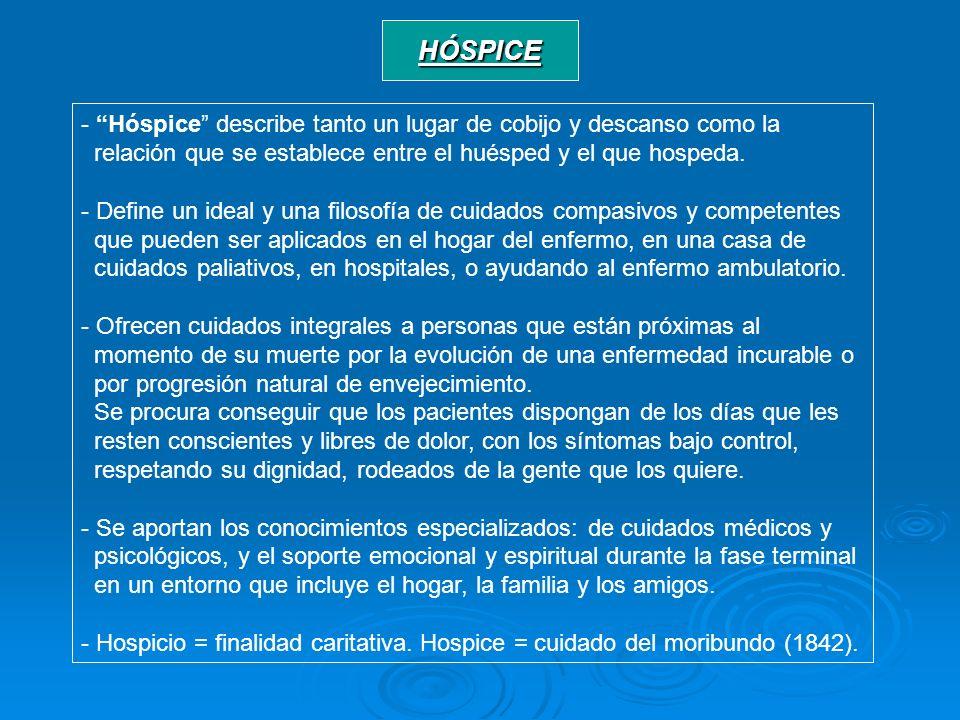 HÓSPICE - Hóspice describe tanto un lugar de cobijo y descanso como la relación que se establece entre el huésped y el que hospeda. - Define un ideal