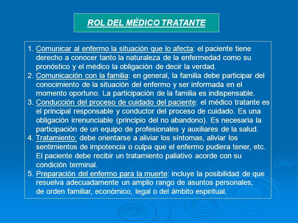 ROL DEL MÉDICO TRATANTE 1. Comunicar al enfermo la situación que lo afecta: el paciente tiene derecho a conocer tanto la naturaleza de la enfermedad c