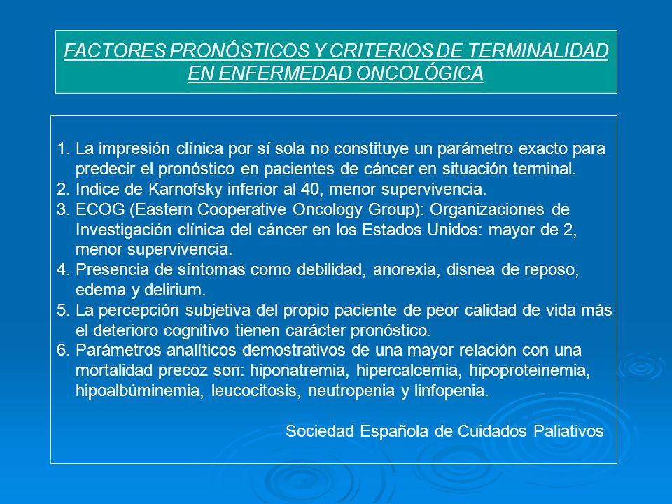 FACTORES PRONÓSTICOS Y CRITERIOS DE TERMINALIDAD EN ENFERMEDAD ONCOLÓGICA 1. La impresión clínica por sí sola no constituye un parámetro exacto para p