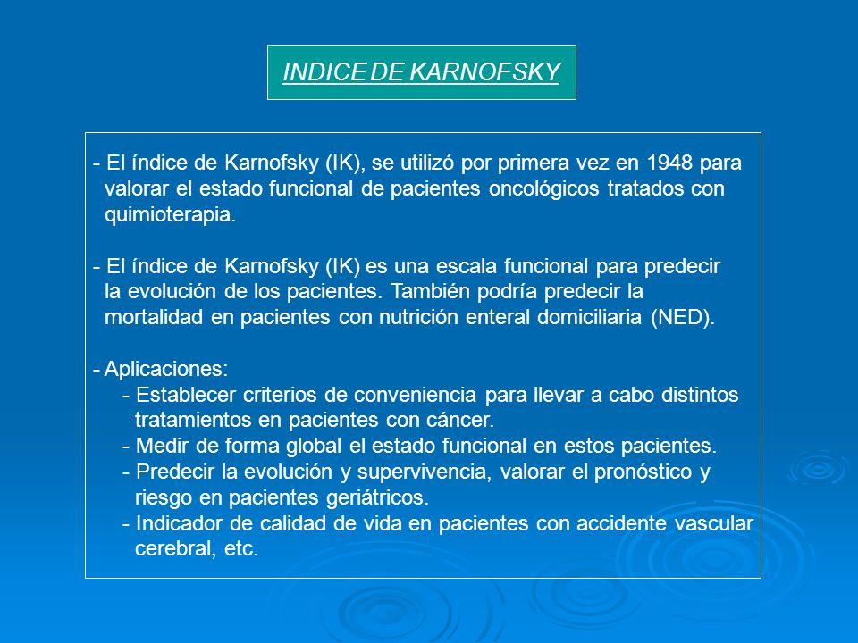 - El índice de Karnofsky (IK), se utilizó por primera vez en 1948 para valorar el estado funcional de pacientes oncológicos tratados con quimioterapia