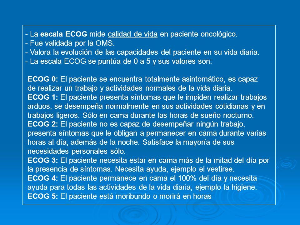 - La escala ECOG mide calidad de vida en paciente oncológico. - Fue validada por la OMS. - Valora la evolución de las capacidades del paciente en su v
