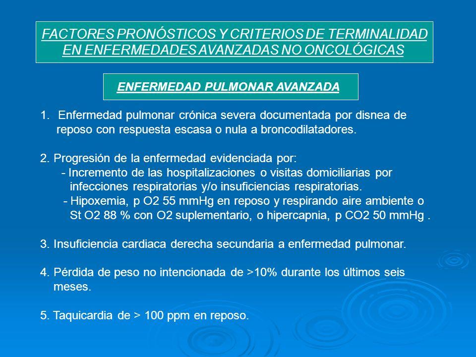 FACTORES PRONÓSTICOS Y CRITERIOS DE TERMINALIDAD EN ENFERMEDADES AVANZADAS NO ONCOLÓGICAS 1.Enfermedad pulmonar crónica severa documentada por disnea