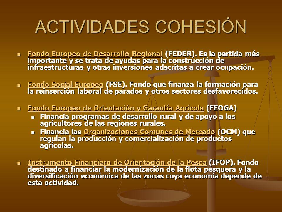 ACTIVIDADES COHESIÓN Fondo Europeo de Desarrollo Regional (FEDER). Es la partida más importante y se trata de ayudas para la construcción de infraestr