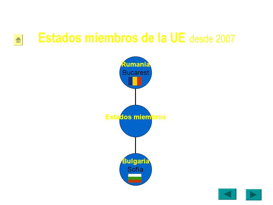 Estados miembros de la UE desde 2007 Bulgaria Sofía Rumania Bucarest Estados miembros