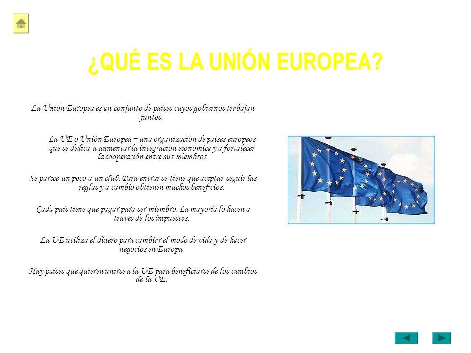 ¿QUÉ ES LA UNIÓN EUROPEA? La Unión Europea es un conjunto de países cuyos gobiernos trabajan juntos. La UE o Unión Europea = una organización de paíse