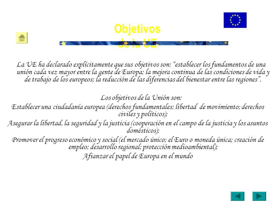 Objetivos de la UE La UE ha declarado explícitamente que sus objetivos son: establecer los fundamentos de una unión cada vez mayor entre la gente de E