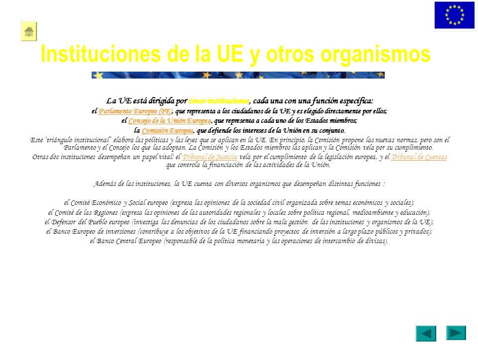 Instituciones de la UE y otros organismos La UE está dirigida por cinco instituciones, cada una con una función específica: el Parlamento Europeo (PE)
