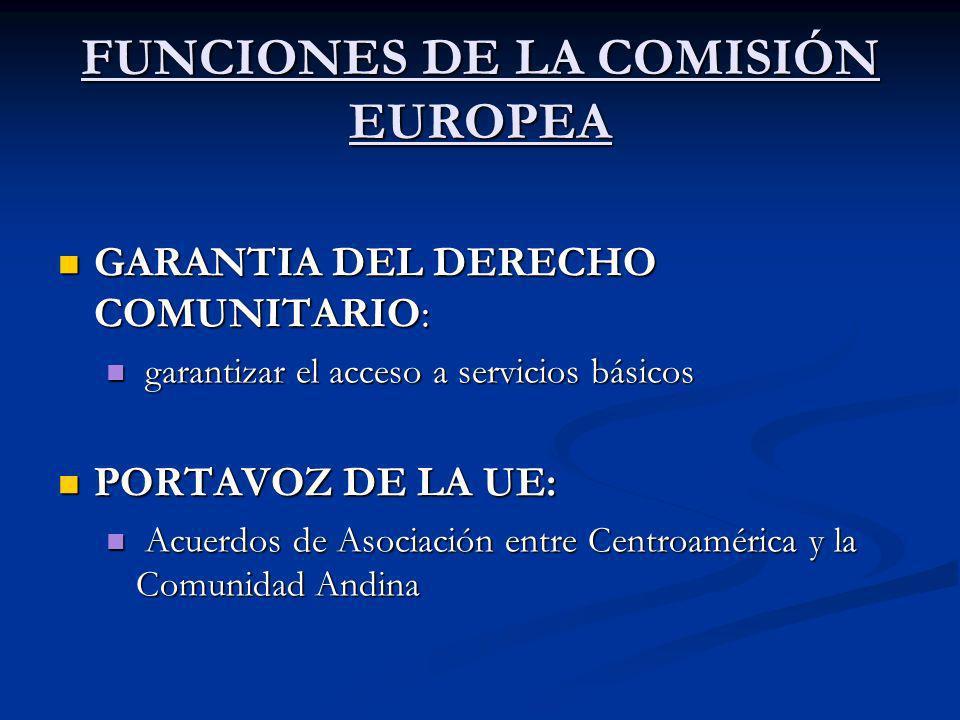 FUNCIONES DE LA COMISIÓN EUROPEA GARANTIA DEL DERECHO COMUNITARIO: GARANTIA DEL DERECHO COMUNITARIO: garantizar el acceso a servicios básicos garantiz