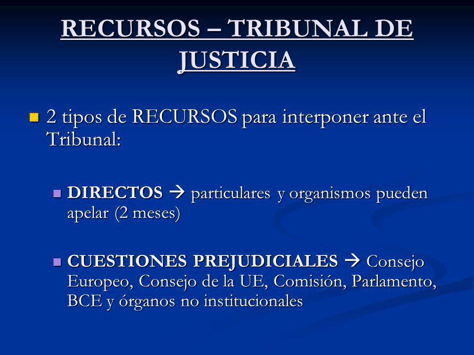 RECURSOS – TRIBUNAL DE JUSTICIA 2 tipos de RECURSOS para interponer ante el Tribunal: 2 tipos de RECURSOS para interponer ante el Tribunal: DIRECTOS p