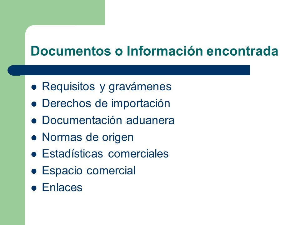 Documentos o Información encontrada Requisitos y gravámenes Derechos de importación Documentación aduanera Normas de origen Estadísticas comerciales E