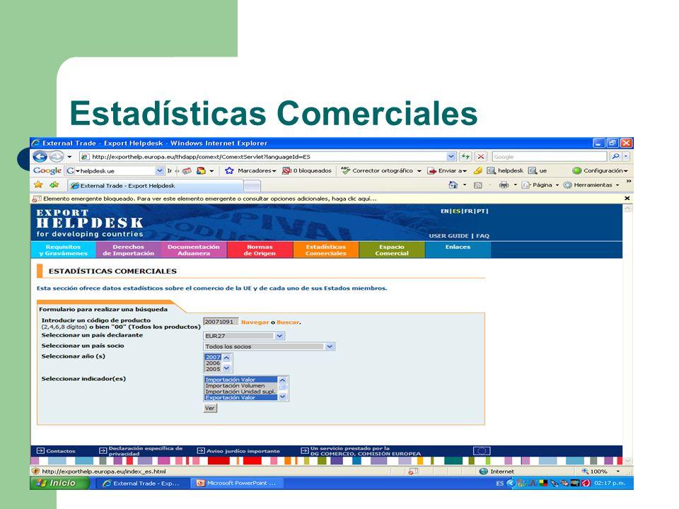 Estadísticas Comerciales
