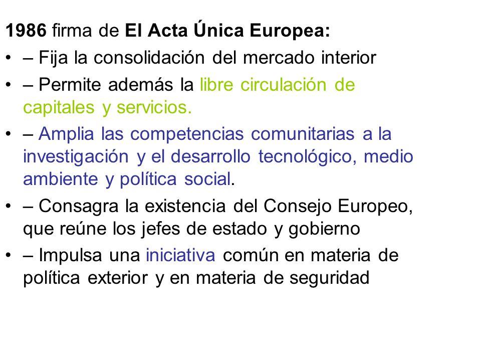 1986 firma de El Acta Única Europea: – Fija la consolidación del mercado interior – Permite además la libre circulación de capitales y servicios. – Am