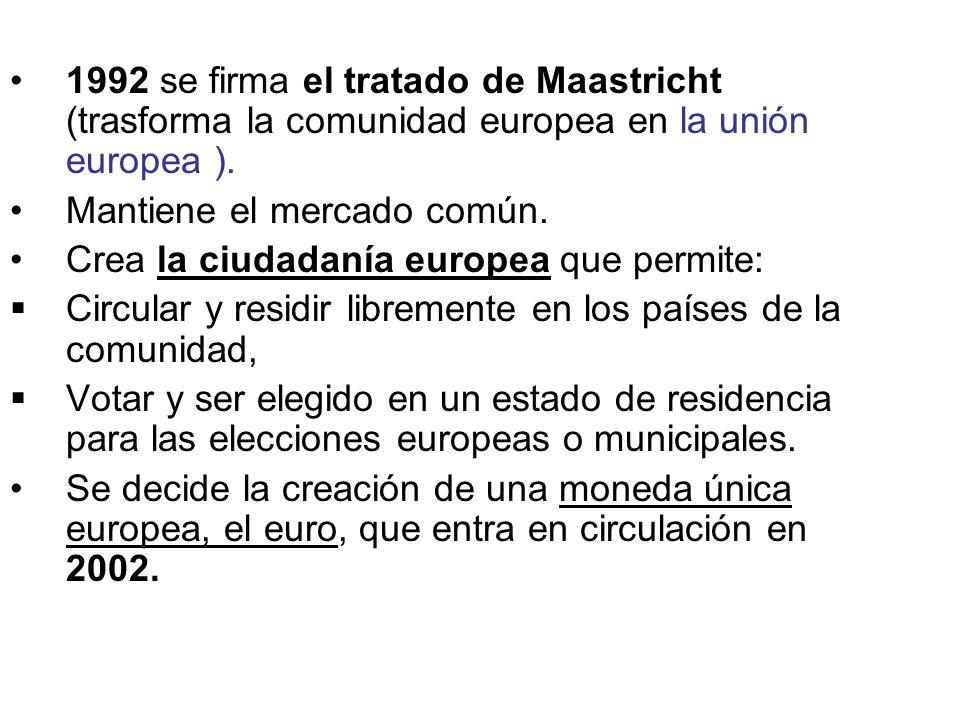1992 se firma el tratado de Maastricht (trasforma la comunidad europea en la unión europea ). Mantiene el mercado común. Crea la ciudadanía europea qu