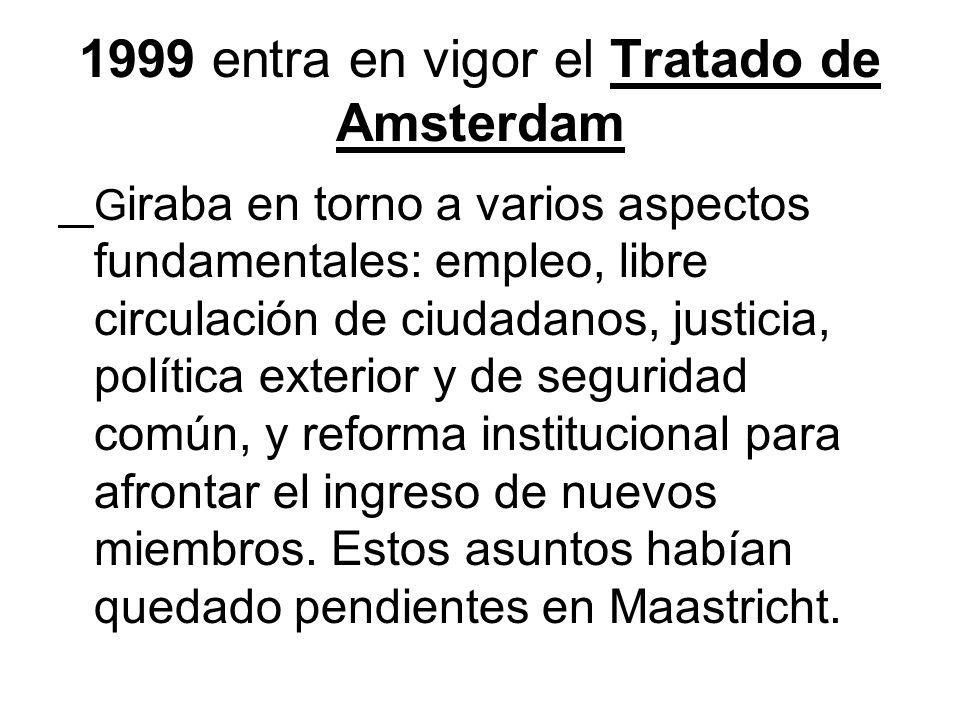 1999 entra en vigor el Tratado de Amsterdam G iraba en torno a varios aspectos fundamentales: empleo, libre circulación de ciudadanos, justicia, polít