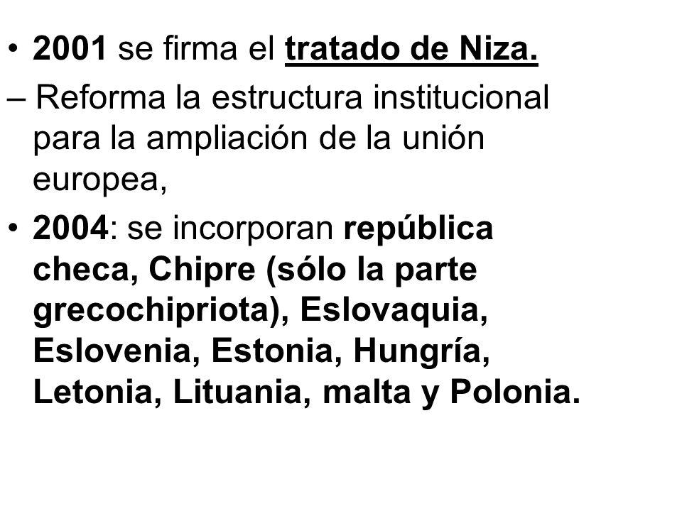 2001 se firma el tratado de Niza. – Reforma la estructura institucional para la ampliación de la unión europea, 2004: se incorporan república checa, C