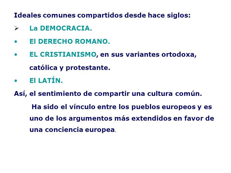 Ideales comunes compartidos desde hace siglos: La DEMOCRACIA. El DERECHO ROMANO. EL CRISTIANISMO, en sus variantes ortodoxa, católica y protestante. E