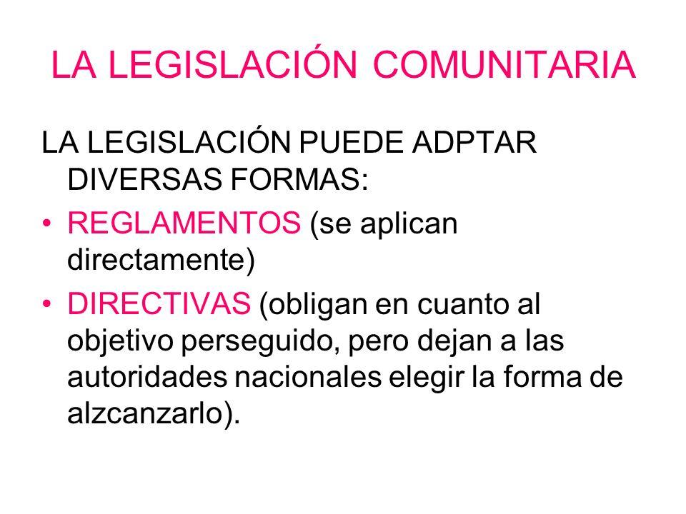 LA LEGISLACIÓN COMUNITARIA LA LEGISLACIÓN PUEDE ADPTAR DIVERSAS FORMAS: REGLAMENTOS (se aplican directamente) DIRECTIVAS (obligan en cuanto al objetiv