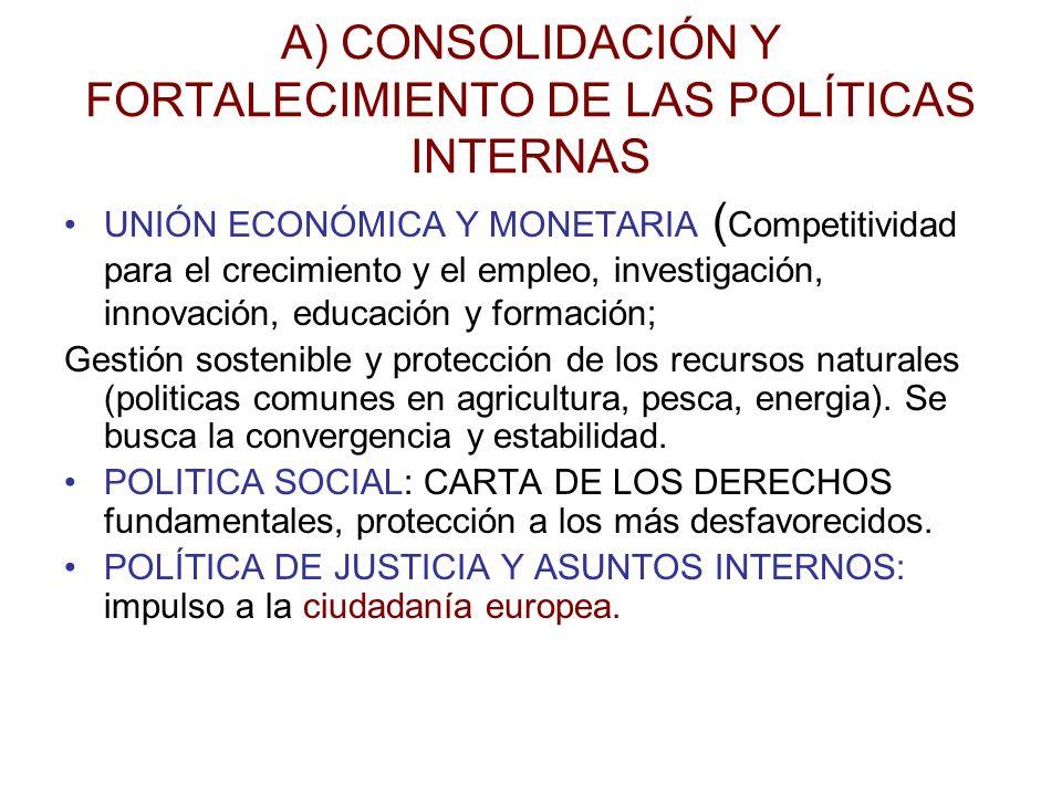 A) CONSOLIDACIÓN Y FORTALECIMIENTO DE LAS POLÍTICAS INTERNAS UNIÓN ECONÓMICA Y MONETARIA ( Competitividad para el crecimiento y el empleo, investigaci
