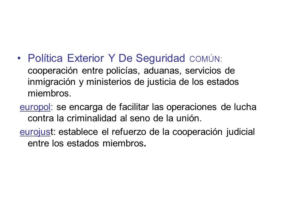 Política Exterior Y De Seguridad COMÚN: cooperación entre policías, aduanas, servicios de inmigración y ministerios de justicia de los estados miembro