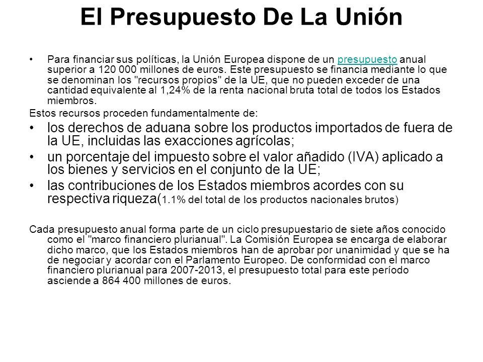 El Presupuesto De La Unión Para financiar sus políticas, la Unión Europea dispone de un presupuesto anual superior a 120 000 millones de euros. Este p