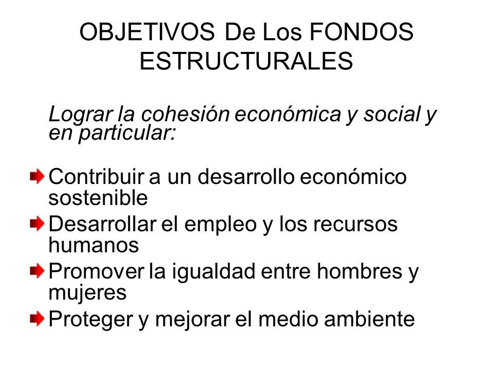 OBJETIVOS De Los FONDOS ESTRUCTURALES Lograr la cohesión económica y social y en particular: Contribuir a un desarrollo económico sostenible Desarroll