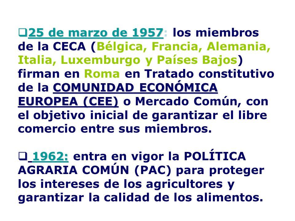 25 de marzo de 1957 COMUNIDAD ECONÓMICA EUROPEA (CEE) 25 de marzo de 1957: los miembros de la CECA (Bélgica, Francia, Alemania, Italia, Luxemburgo y P
