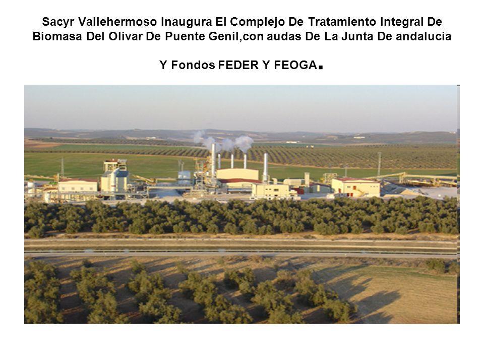 Sacyr Vallehermoso Inaugura El Complejo De Tratamiento Integral De Biomasa Del Olivar De Puente Genil,con audas De La Junta De andalucia Y Fondos FEDE