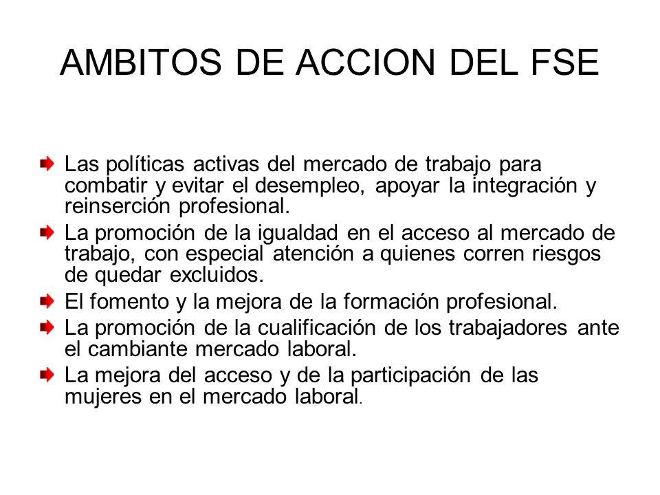 AMBITOS DE ACCION DEL FSE Las políticas activas del mercado de trabajo para combatir y evitar el desempleo, apoyar la integración y reinserción profes