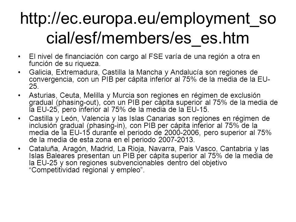 http://ec.europa.eu/employment_so cial/esf/members/es_es.htm El nivel de financiación con cargo al FSE varía de una región a otra en función de su riq