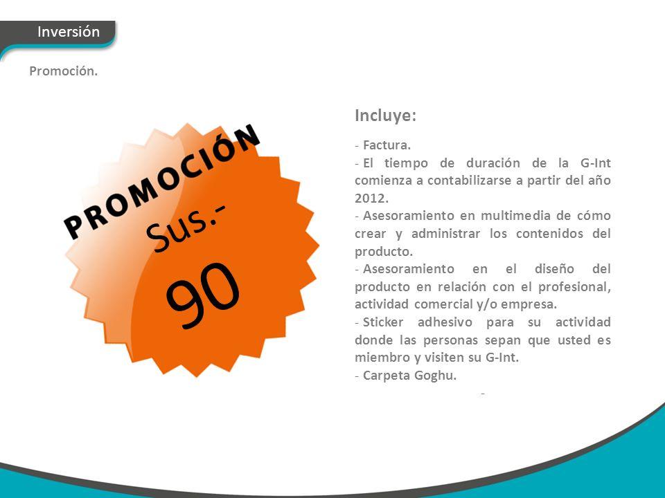 Inversión Promoción. Sus.- 90 Incluye: - Factura. - El tiempo de duración de la G-Int comienza a contabilizarse a partir del año 2012. - Asesoramiento