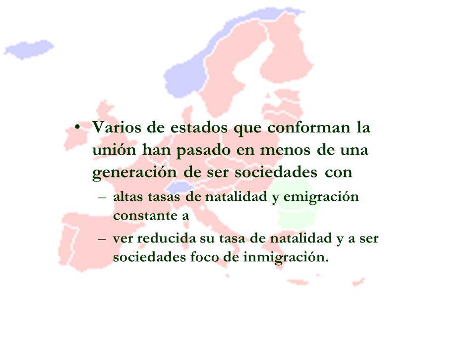 Varios de estados que conforman la unión han pasado en menos de una generación de ser sociedades con –altas tasas de natalidad y emigración constante