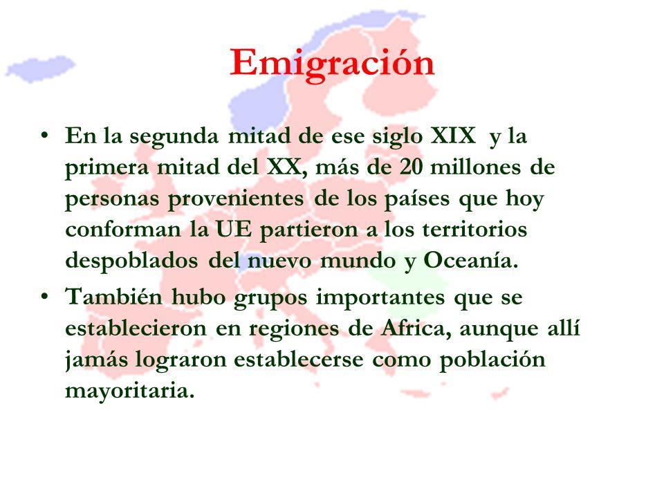Emigración En la segunda mitad de ese siglo XIX y la primera mitad del XX, más de 20 millones de personas provenientes de los países que hoy conforman