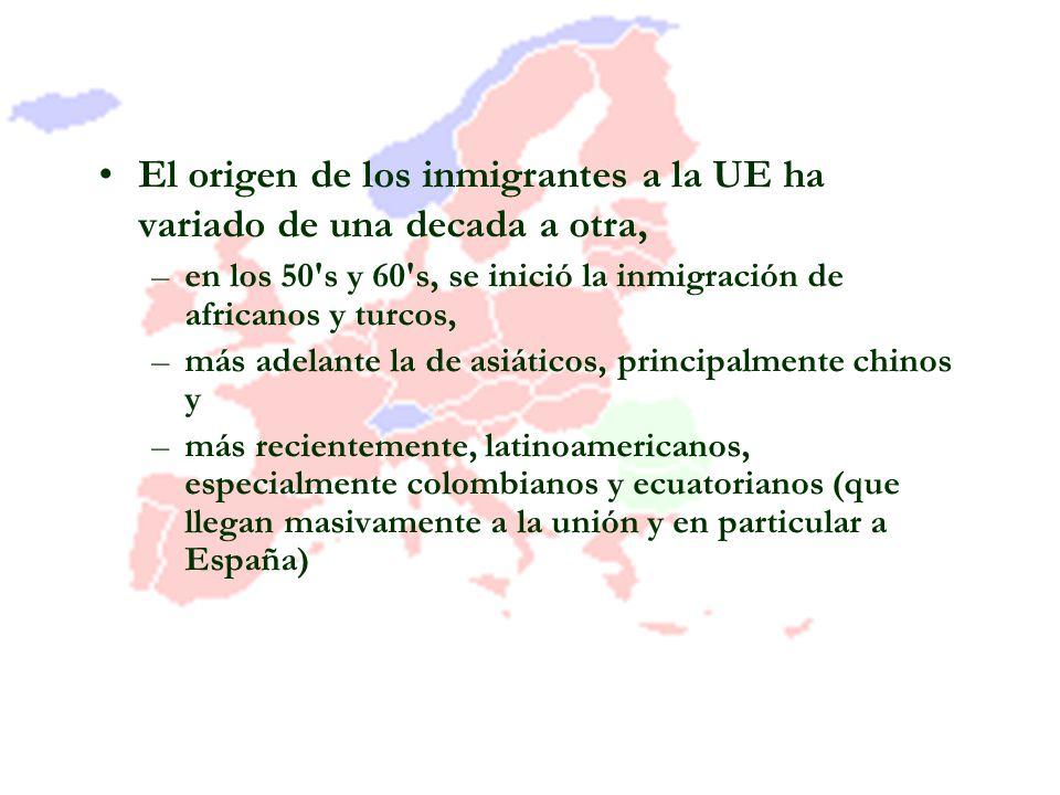 El origen de los inmigrantes a la UE ha variado de una decada a otra, –en los 50's y 60's, se inició la inmigración de africanos y turcos, –más adelan
