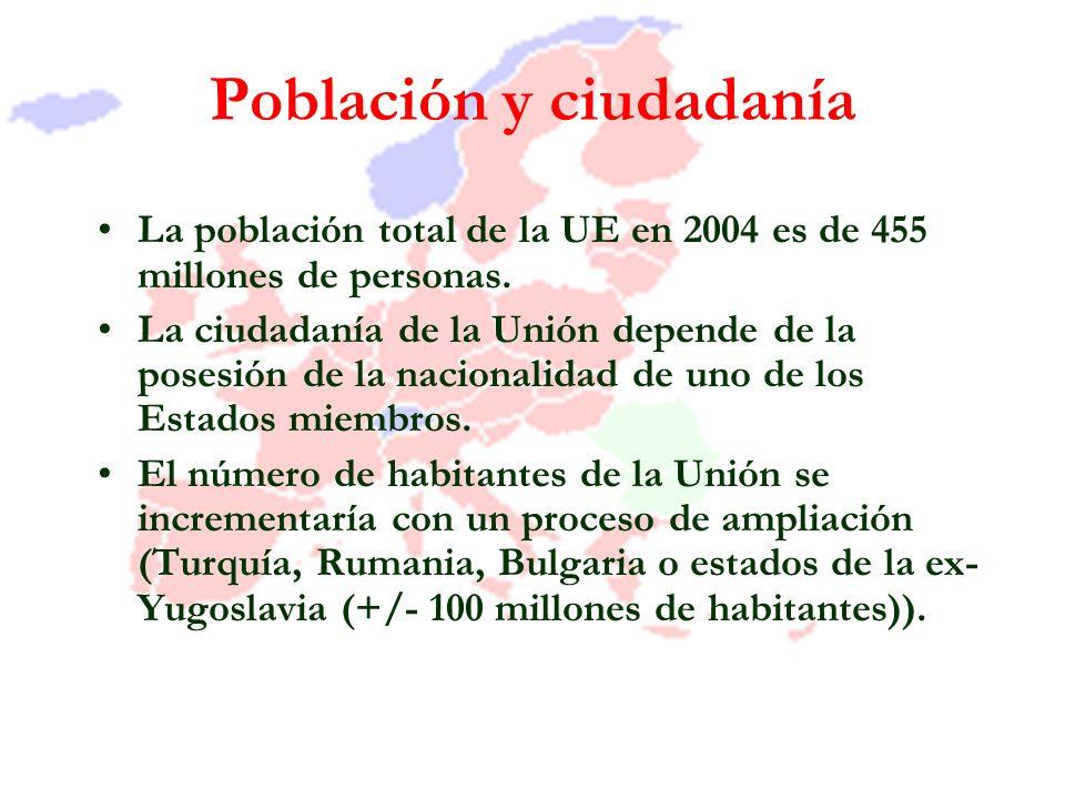 Población y ciudadanía La población total de la UE en 2004 es de 455 millones de personas. La ciudadanía de la Unión depende de la posesión de la naci