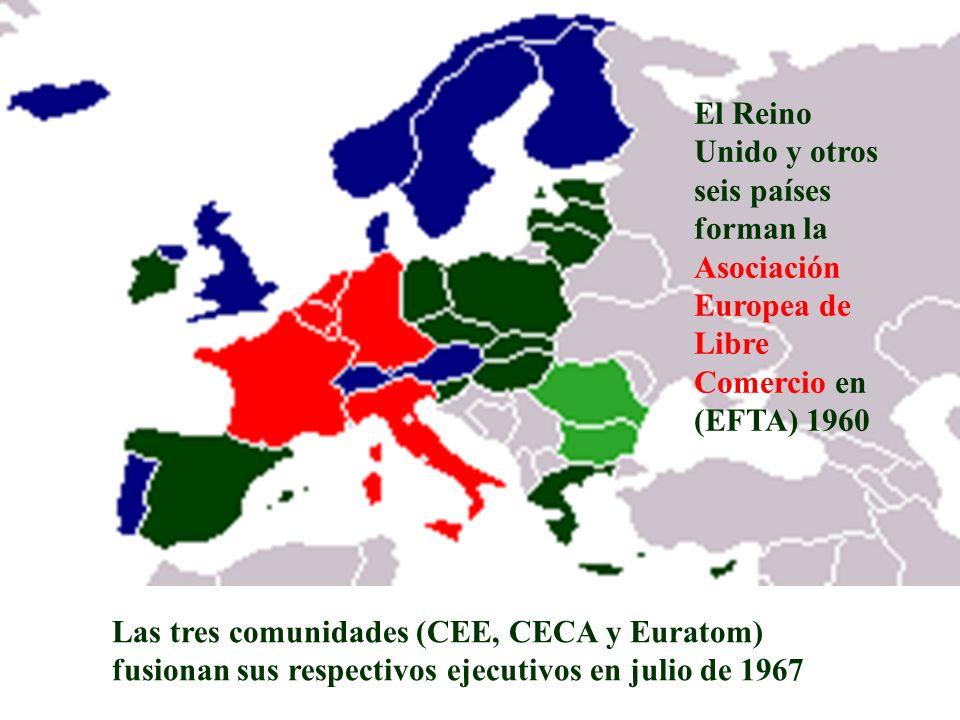 El Reino Unido y otros seis países forman la Asociación Europea de Libre Comercio en (EFTA) 1960 Las tres comunidades (CEE, CECA y Euratom) fusionan s