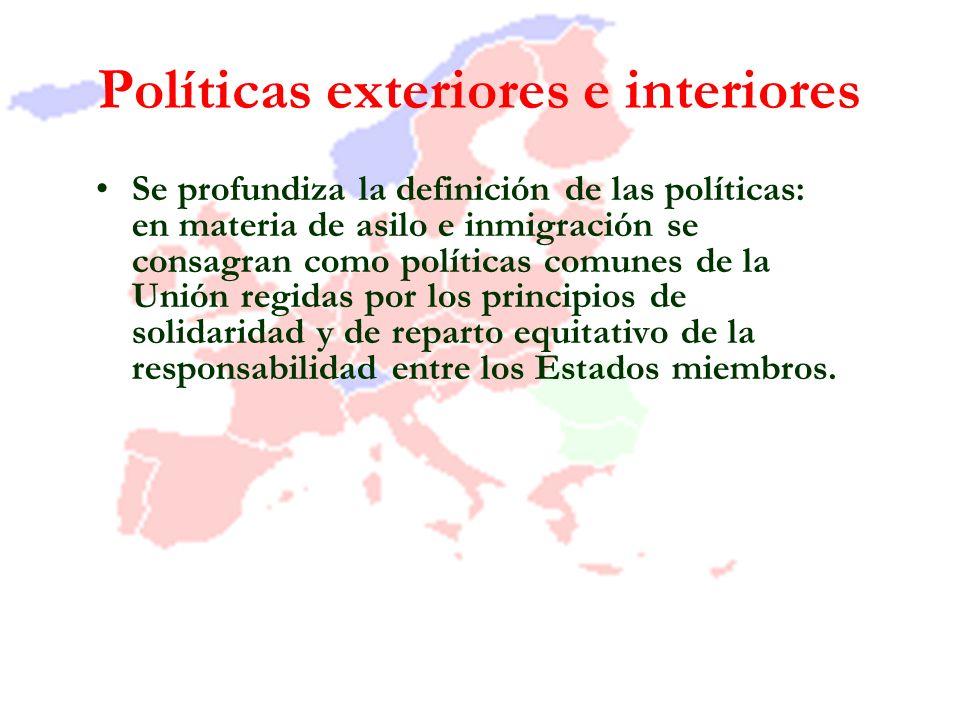 Políticas exteriores e interiores Se profundiza la definición de las políticas: en materia de asilo e inmigración se consagran como políticas comunes