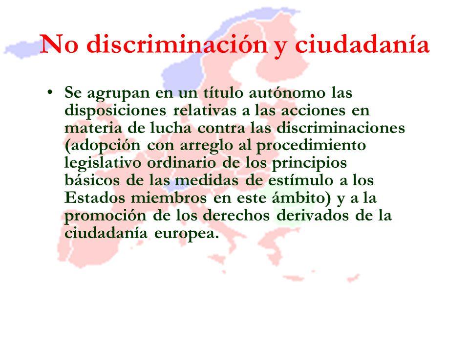 No discriminación y ciudadanía Se agrupan en un título autónomo las disposiciones relativas a las acciones en materia de lucha contra las discriminaci