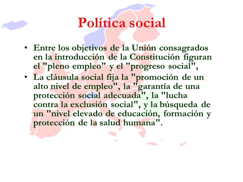 Política social Entre los objetivos de la Unión consagrados en la introducción de la Constitución figuran el