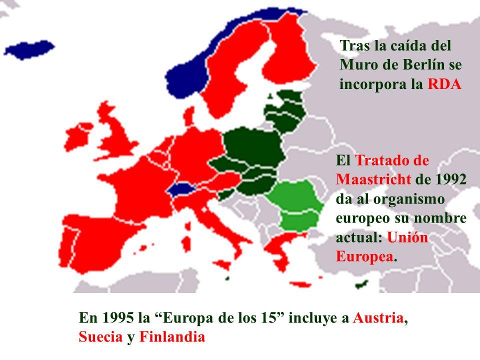 Tras la caída del Muro de Berlín se incorpora la RDA El Tratado de Maastricht de 1992 da al organismo europeo su nombre actual: Unión Europea. En 1995